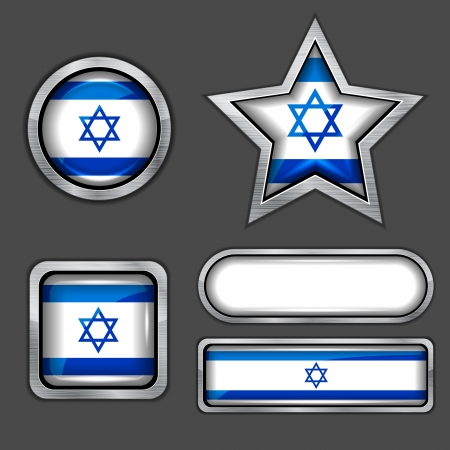 collection of israel flag icons Vector