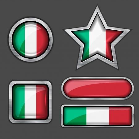 cultura italiana: collezione di icone bandiera italiana