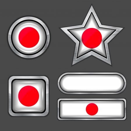 collection of japan flag icons Vector
