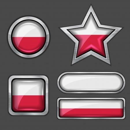 bandera de polonia: colección de iconos de bandera de Polonia Vectores