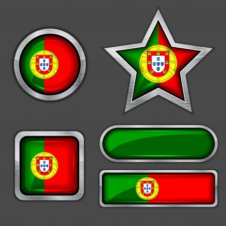 drapeau portugal: collection d'ic�nes de drapeau portugal Illustration