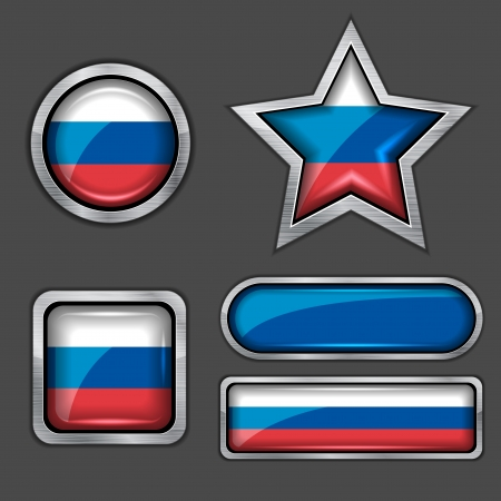 russia flag: collection of russian flag icons
