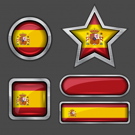collection of spain flag icons Stock Vector - 13799607