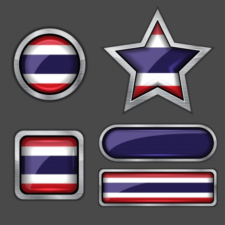 collection of thailand flag icons Vector