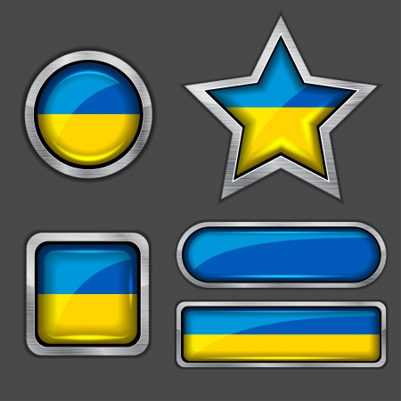 ukraine flag: collection of ukraine flag icons Illustration