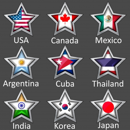 cuba flag: stars with flags icon