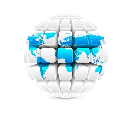 blue map on white globe