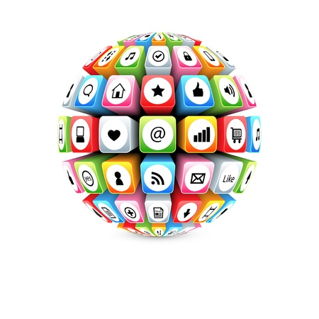 3d sphere with colorful internet symbols Illustration