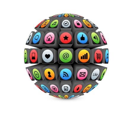3d sphere with colorful internet symbols Illustration