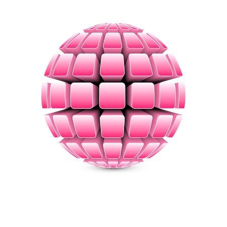 3d pink ball Vector