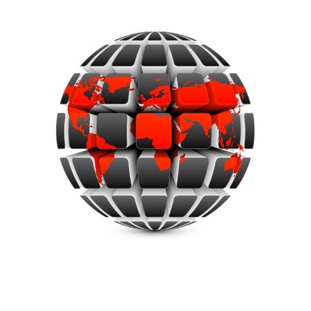 red map on dark globe Vector