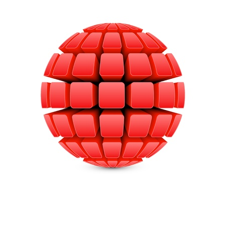 3d red ball Stock Vector - 13799618