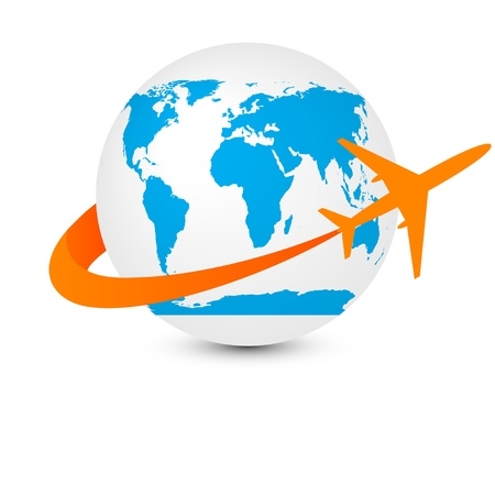 globe with airplane Stock Vector - 13799591