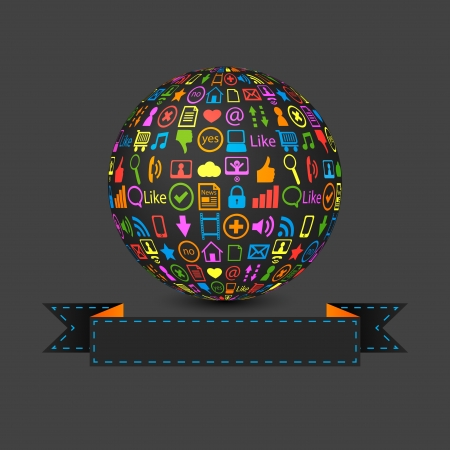 ball with social media icons