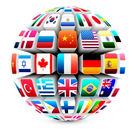 international: 3d sphere with world flags