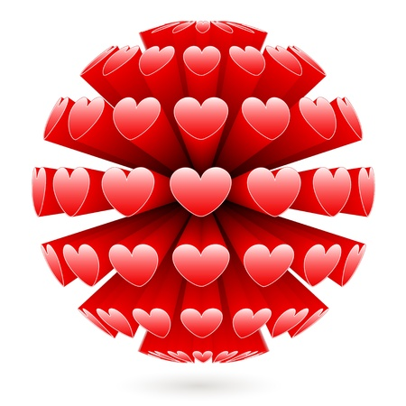3d sphere with red hearts  Illustration