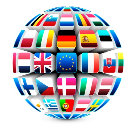 3d sphere with 27 european union flags