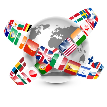bandiere del mondo: collezione di bandiere del mondo intorno alla terra