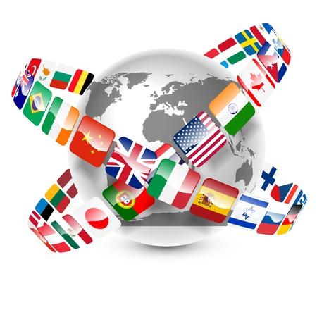 języki: kolekcją flag, świat wokół ziemi
