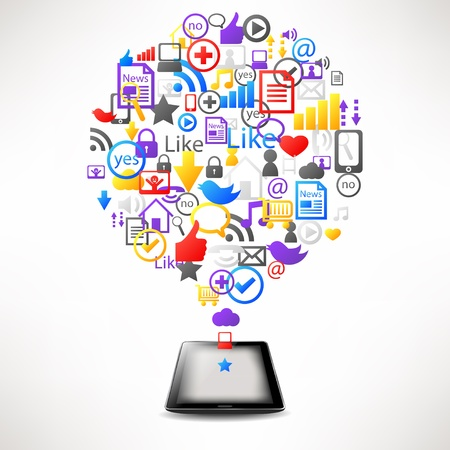 computer tablet with internet icons in cloud vector Vector