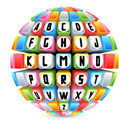 key words: 3d sphere with english alphabet vector Illustration