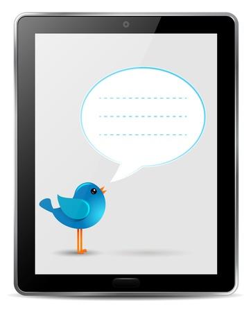 blue bird with speech bubble in screen of computer tablet vector Vector