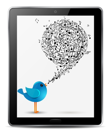 blue bird with music notes in screen of computer tablet Vector