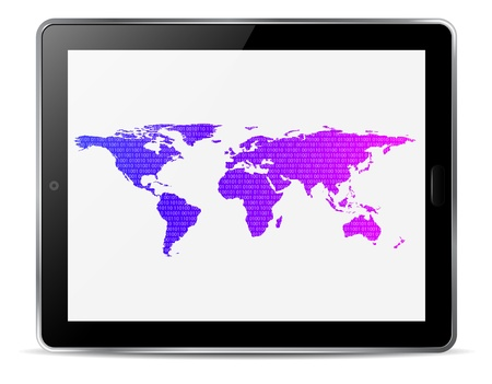 computer tablet with map of the world vector Vector