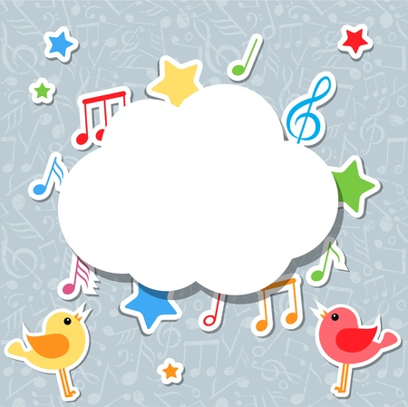 cartoon stars: music notes with speech bubble Illustration