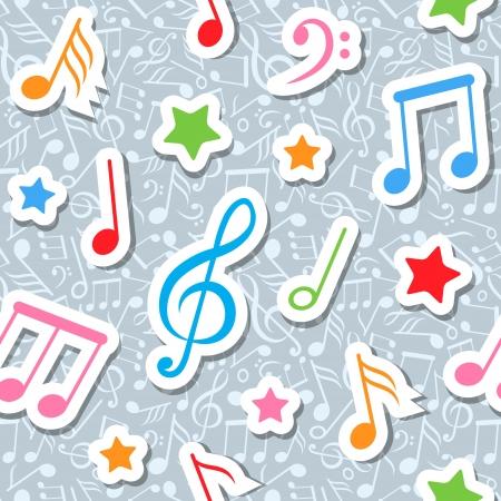 notes de musique: seamless pattern avec des notes de musique et des �toiles Illustration