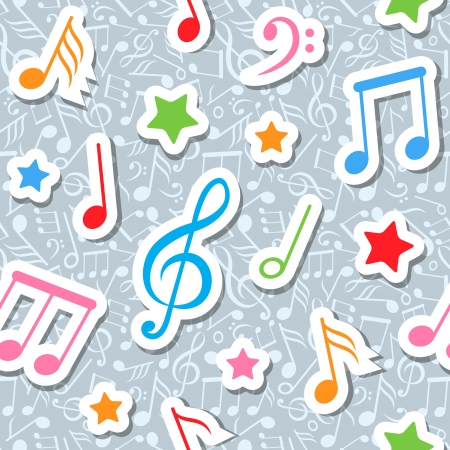 seamless pattern with music notes and stars  Illustration