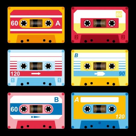 set of colorful audio cassettes