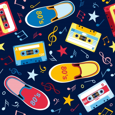 seamless pattern with music notes, audio cassettes and sneakers  Vector