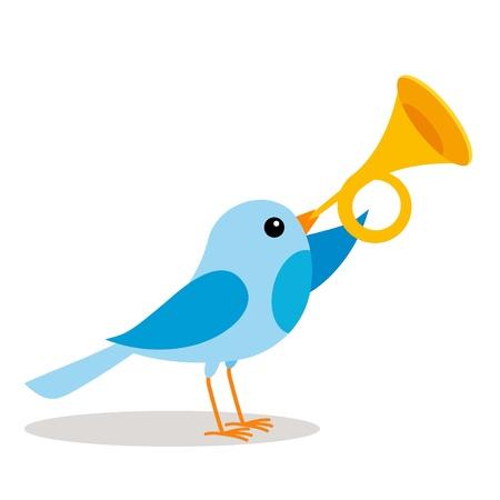 aves caricatura: un pájaro azul que sopla una trompeta