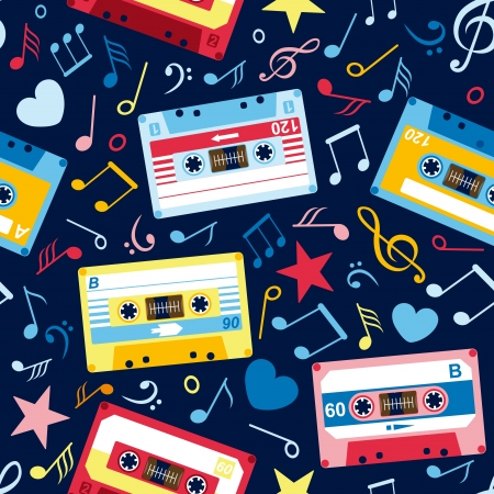 retro pattern: seamless pattern with music notes and old cassettes Illustration