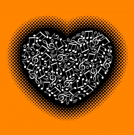 music notes with heart Vector