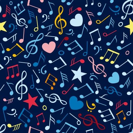 notes de musique: color� seamless pattern avec des notes de musique