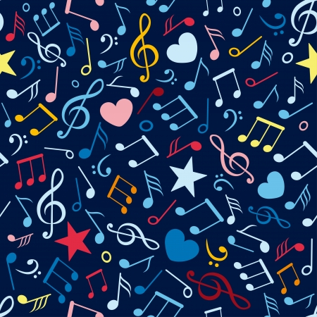 abstract music: colorful seamless pattern with music notes Illustration
