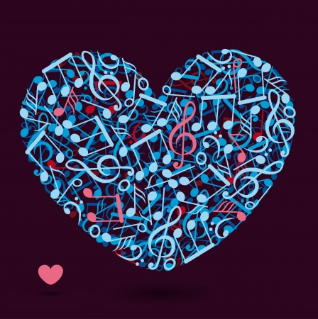 heart made of music notes  Illustration