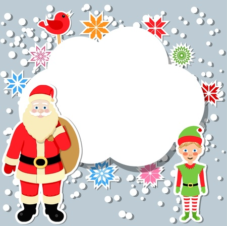 santa claus and elf with speech bubble Vector