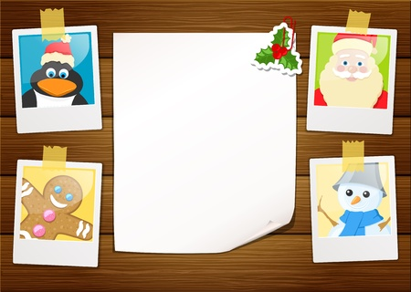 christmas photos with a blank paper sheet Vector