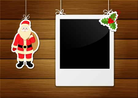 photo frame and santa claus  Vector