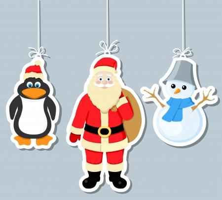 christmas elements, penguin, santa claus and snowman Illustration