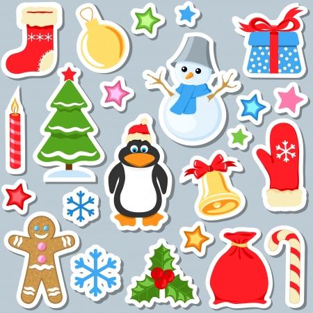 pinguinos navidenos: conjunto de pegatinas de Navidad