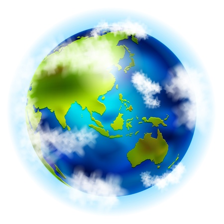 earth with asia and australia