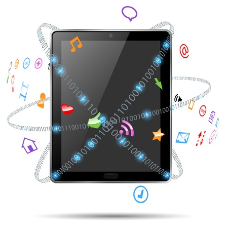 computer tablet with icons  Illustration