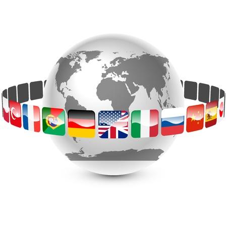 bandiere del mondo: icone con lingue intorno alla terra