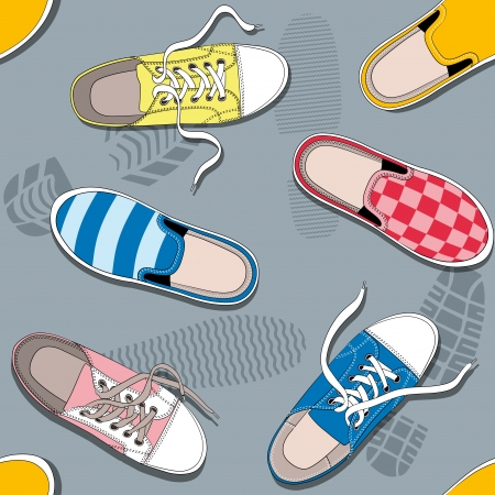 sneakers: seamless pattern with sneakers