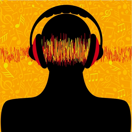 man silhouette with headphones and music notes