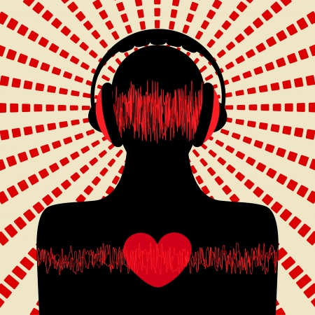 red sound: man silhouette with headphone